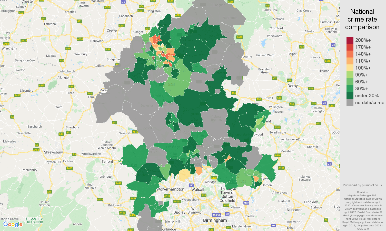 Staffordshire robbery crime rate comparison map