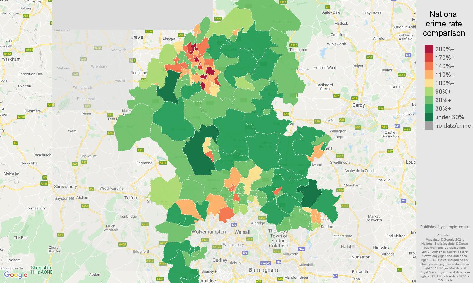 Staffordshire violent crime rate comparison map