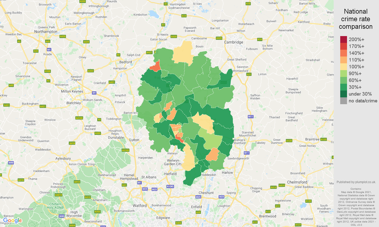 Stevenage criminal damage and arson crime rate comparison map
