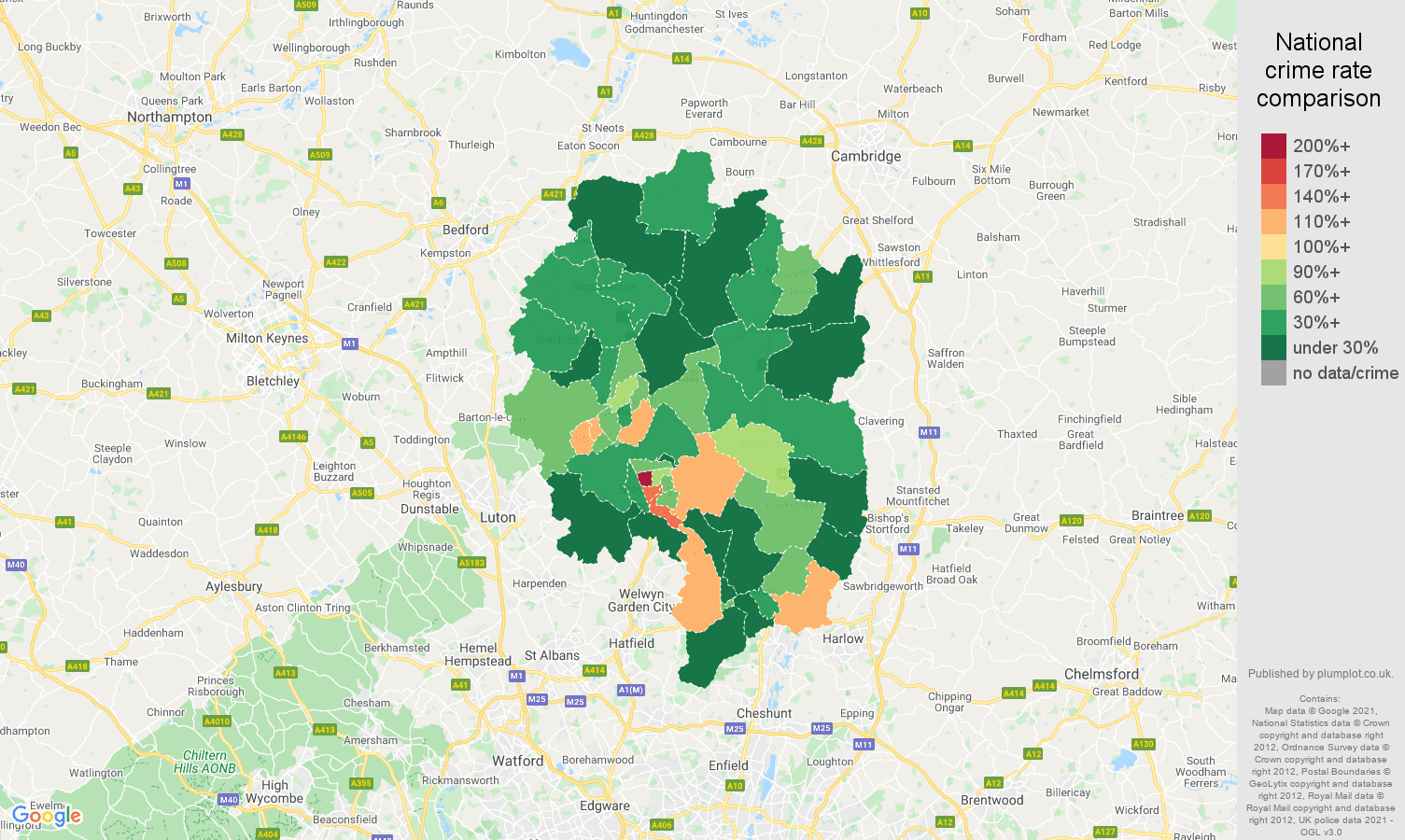 Stevenage drugs crime rate comparison map