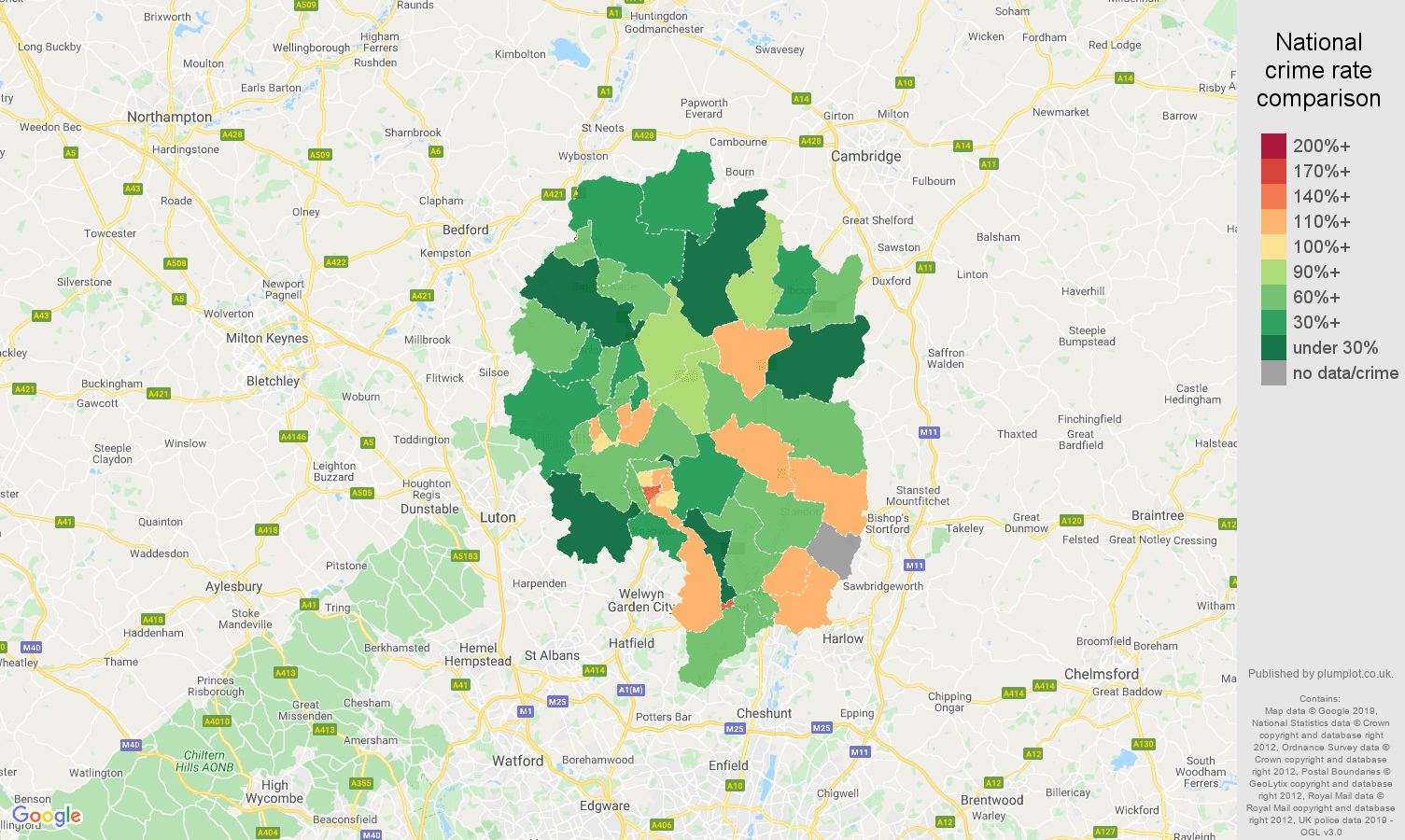 Stevenage other crime rate comparison map