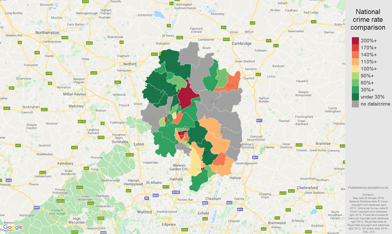 Stevenage possession of weapons crime rate comparison map