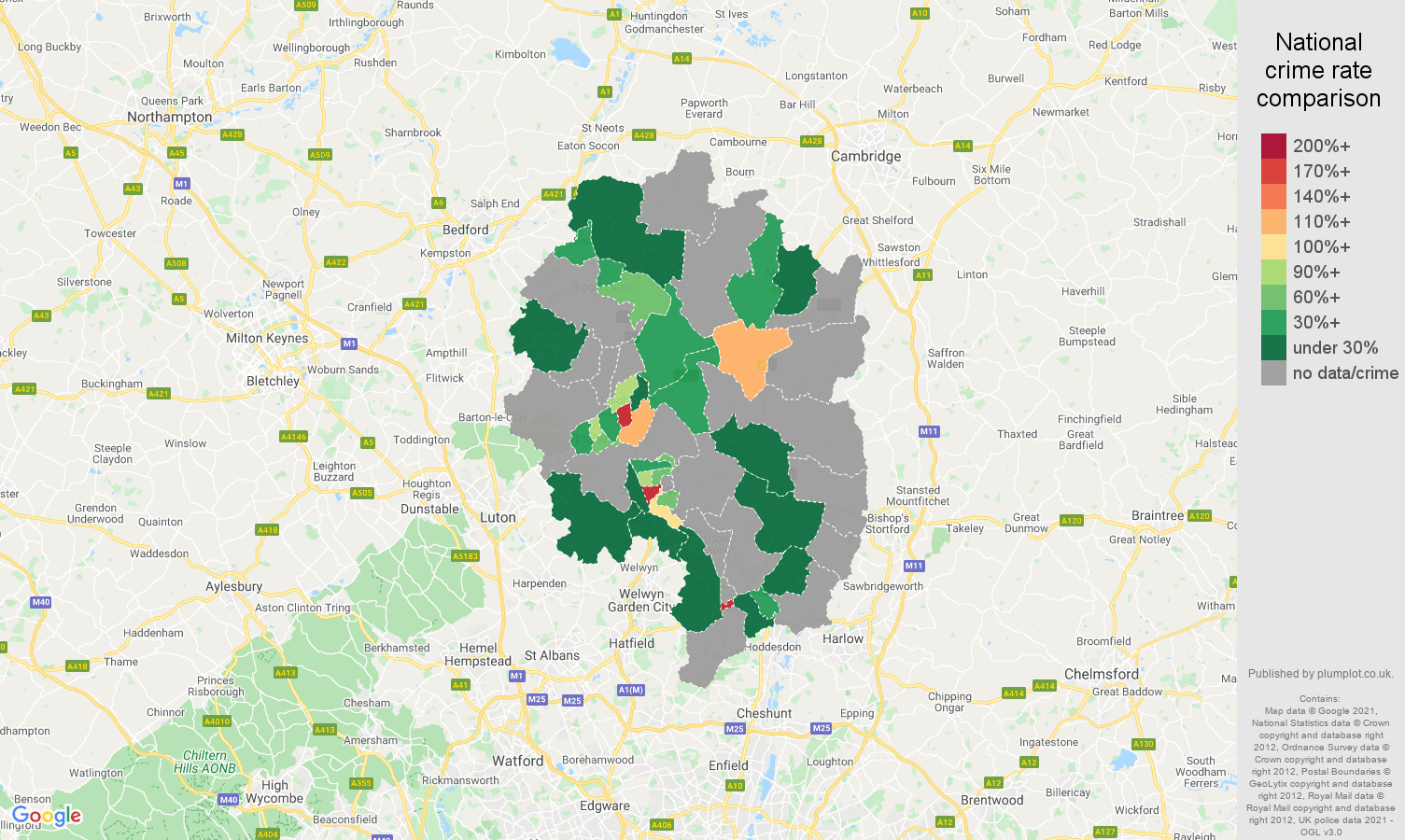 Stevenage theft from the person crime rate comparison map