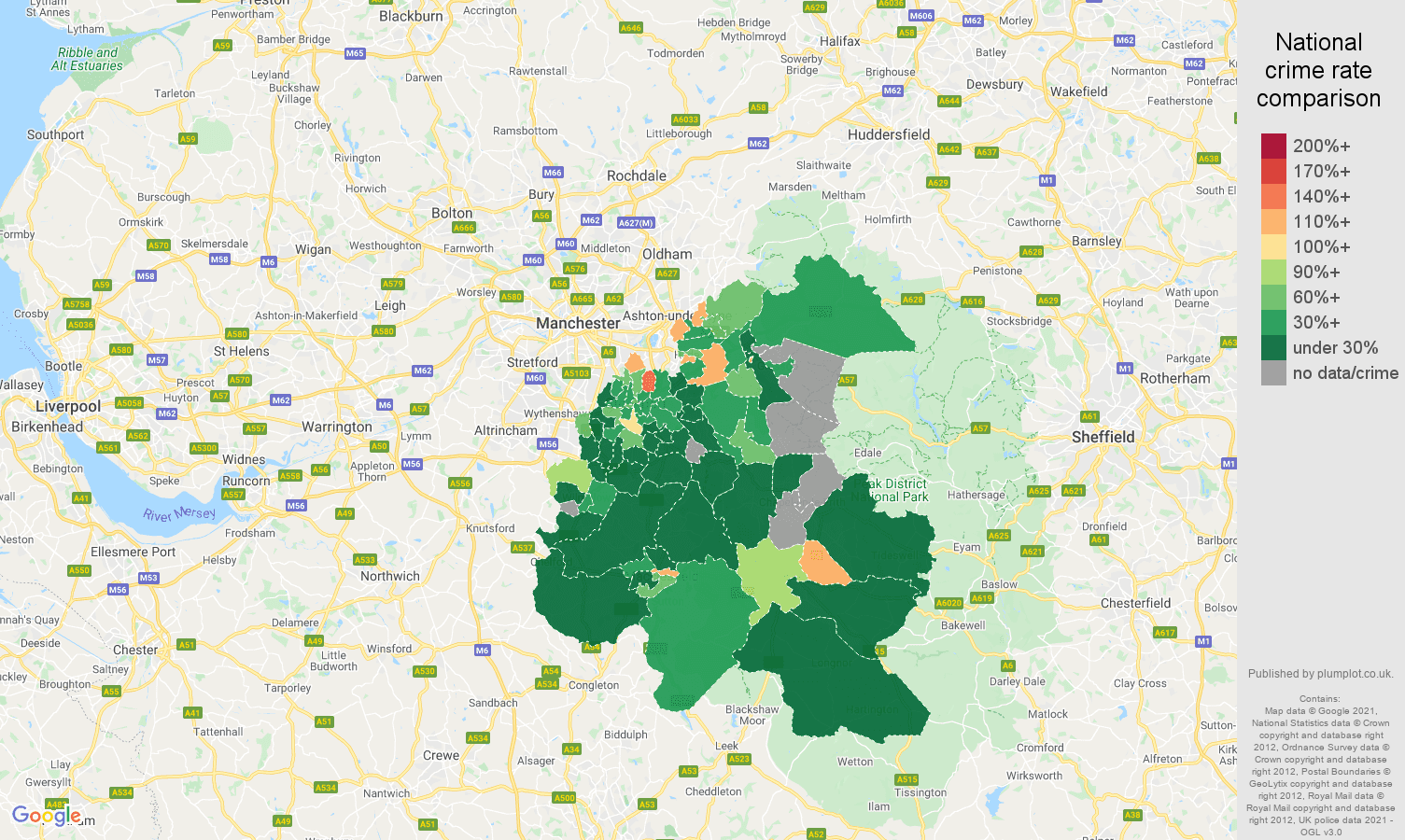 Stockport drugs crime rate comparison map