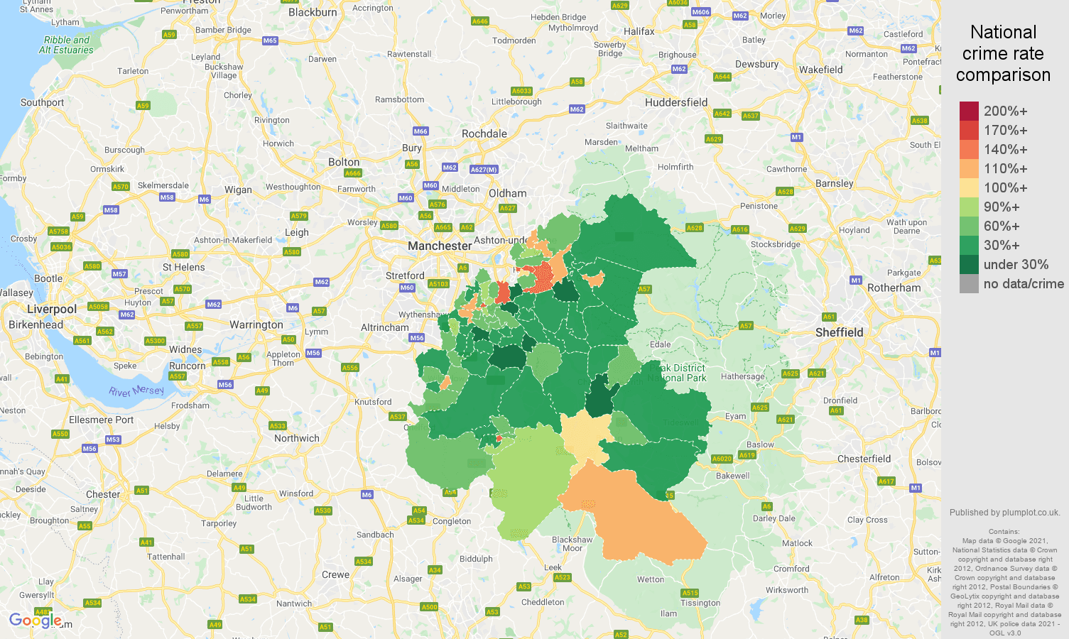 Stockport other theft crime rate comparison map