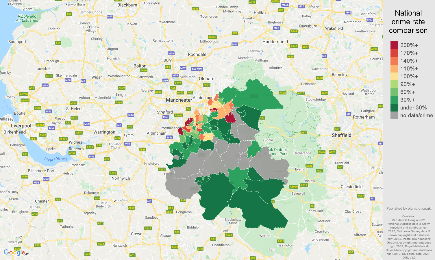 Stockport robbery crime rate comparison map
