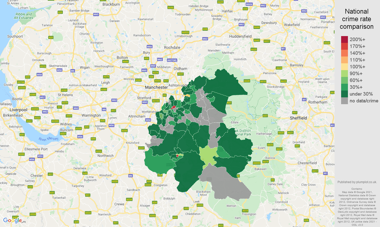 Stockport theft from the person crime rate comparison map