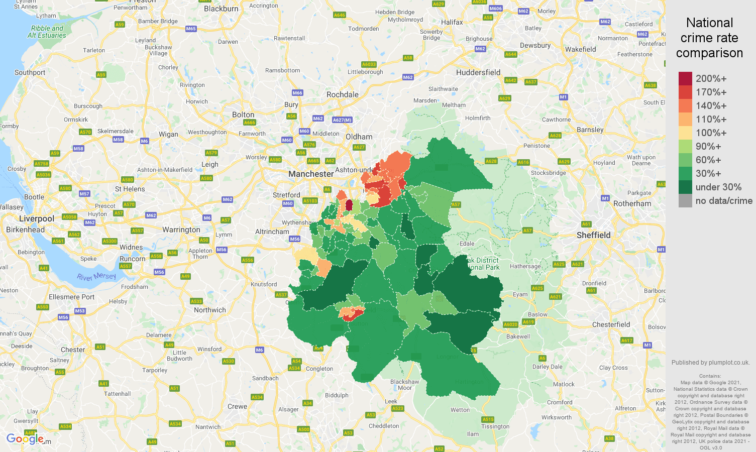 Stockport violent crime rate comparison map