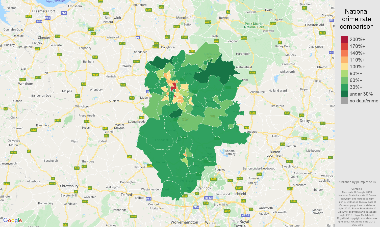 Stoke on Trent other theft crime rate comparison map