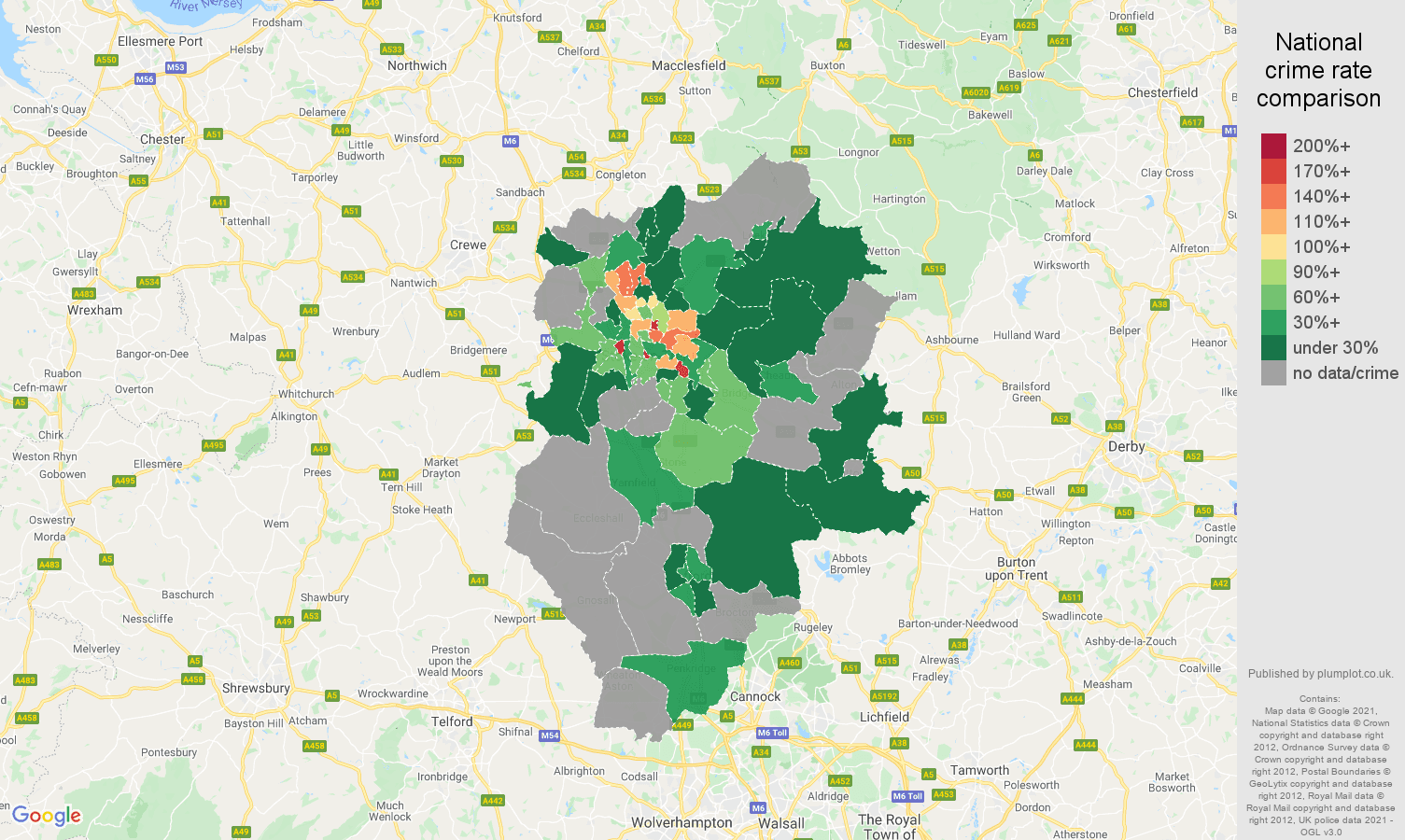 Stoke on Trent robbery crime rate comparison map