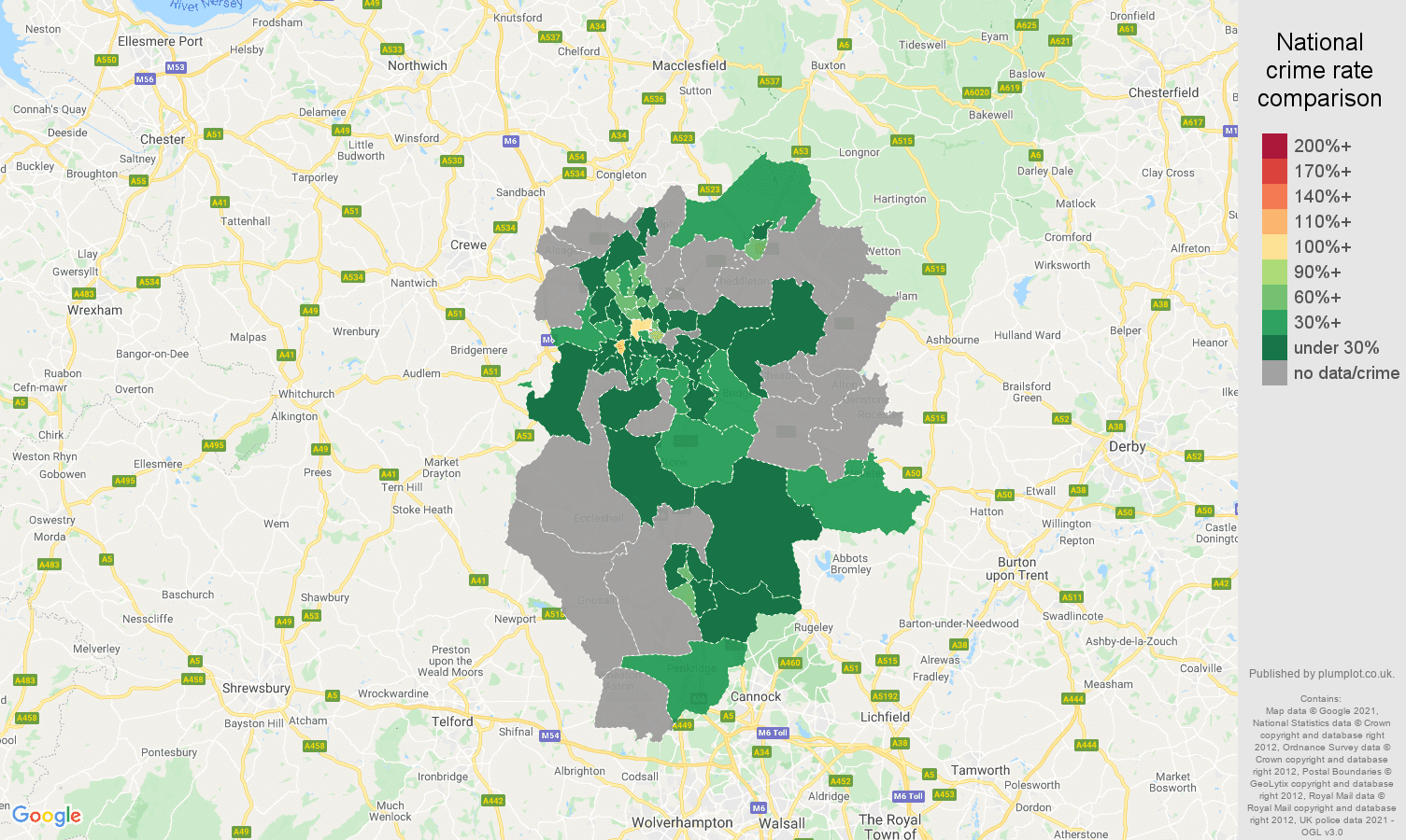 Stoke on Trent theft from the person crime rate comparison map