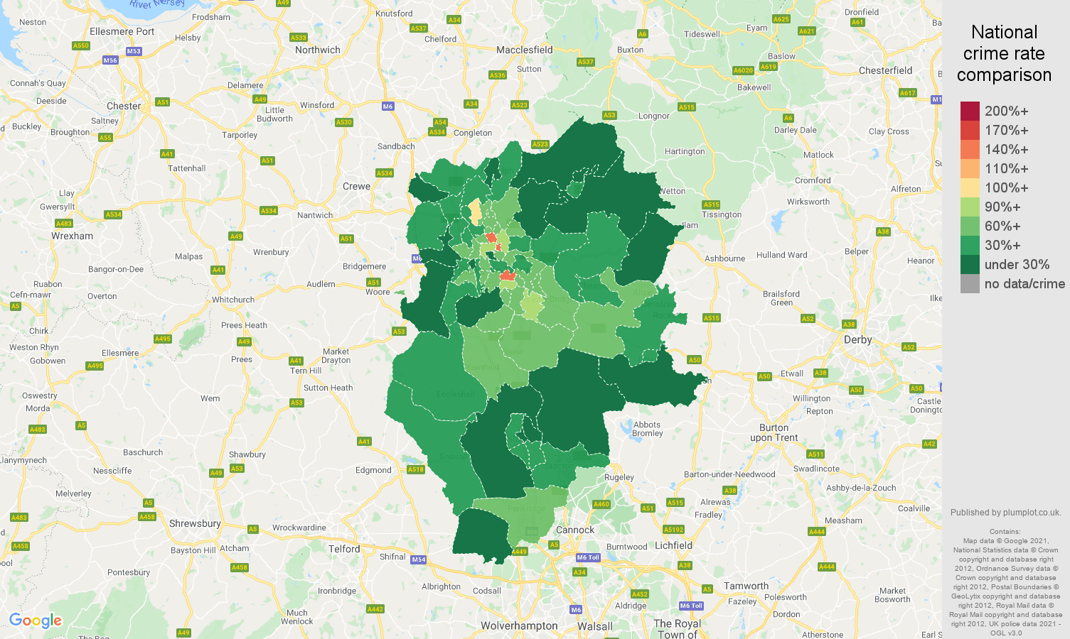 Stoke on Trent vehicle crime rate comparison map