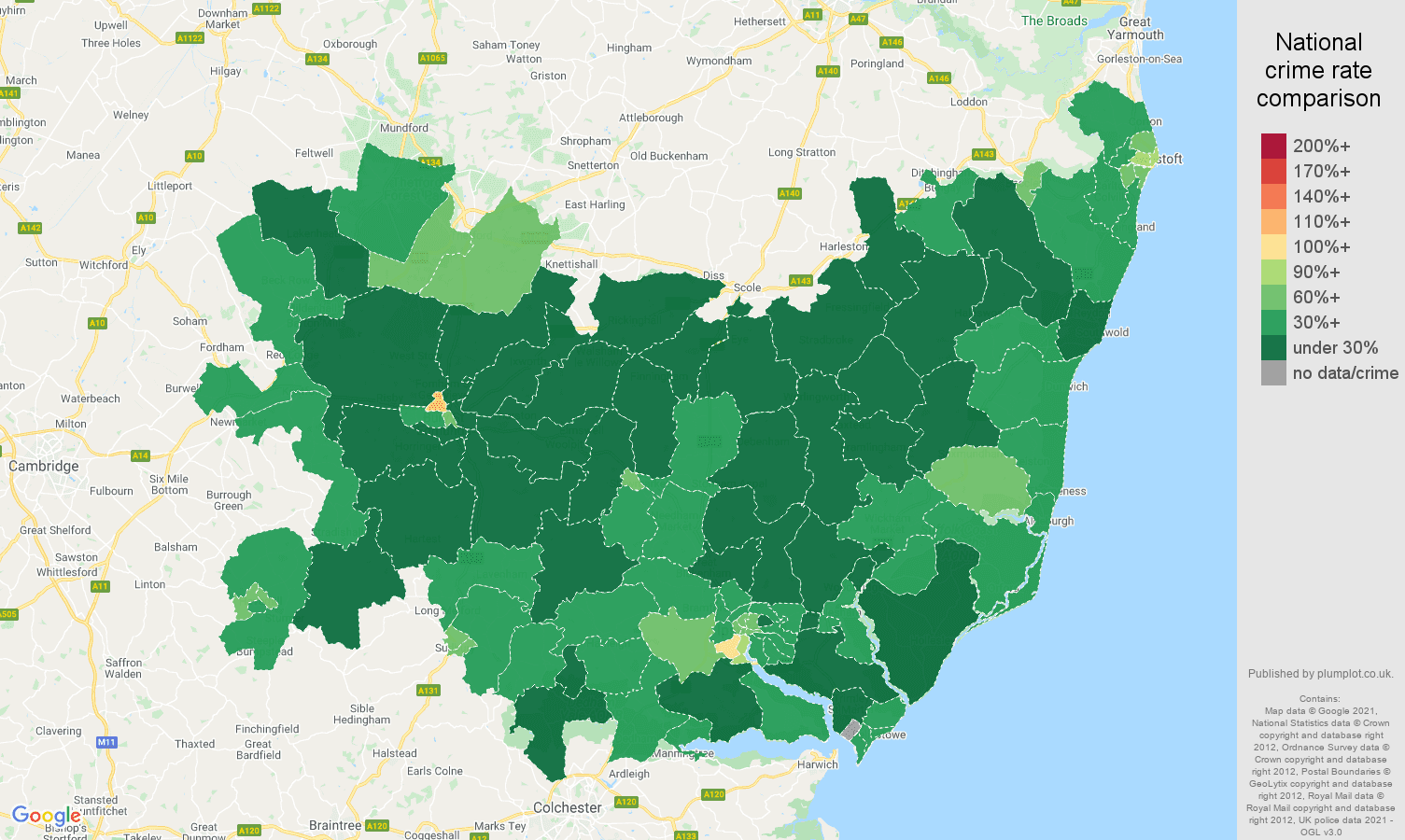 Suffolk antisocial behaviour crime rate comparison map