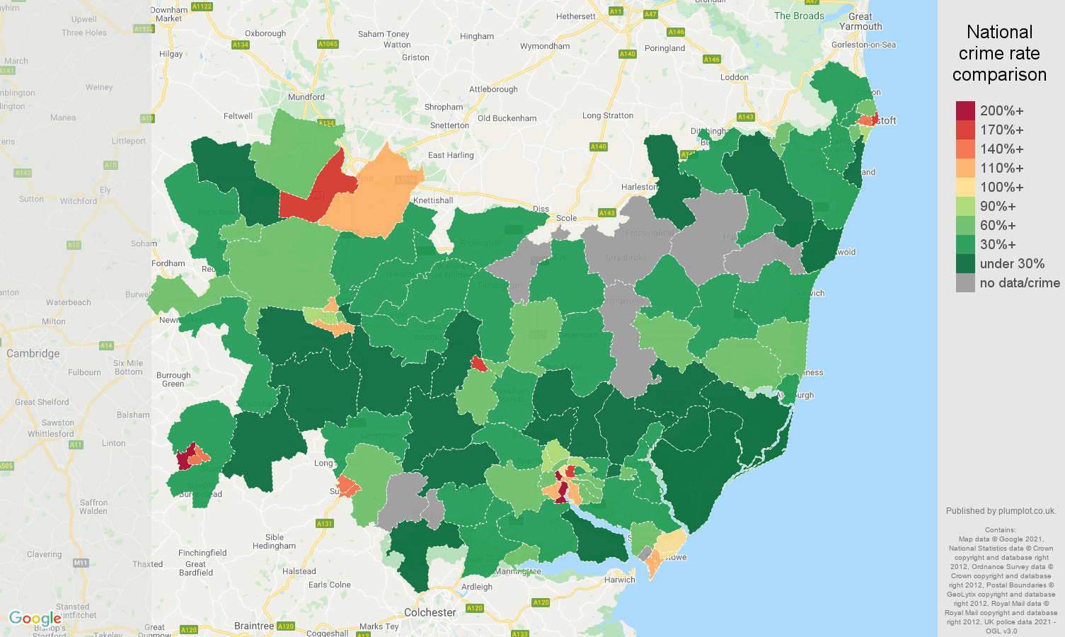 Suffolk drugs crime rate comparison map