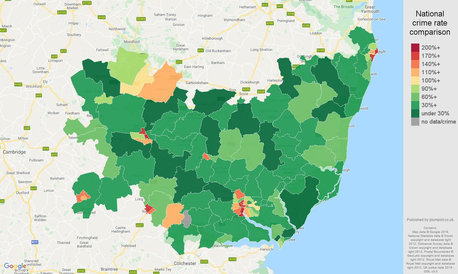 Suffolk public order crime rate comparison map