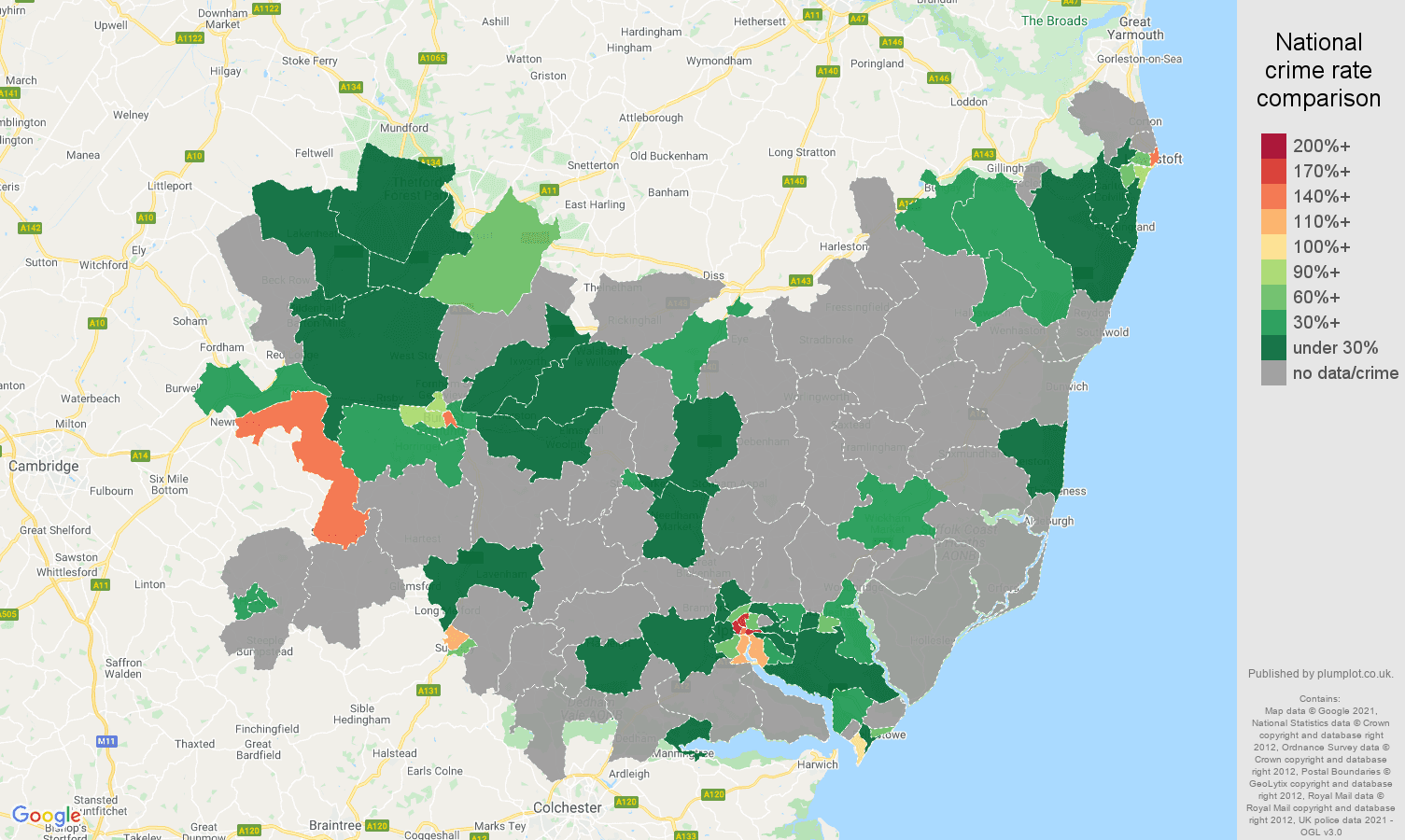 Suffolk theft from the person crime rate comparison map