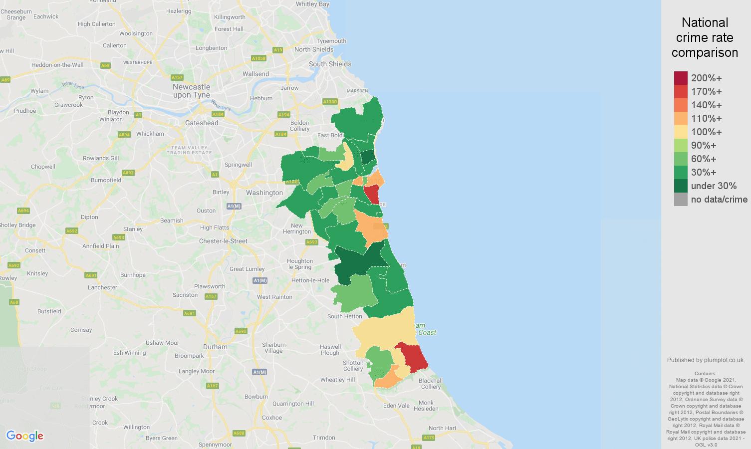 Sunderland drugs crime rate comparison map