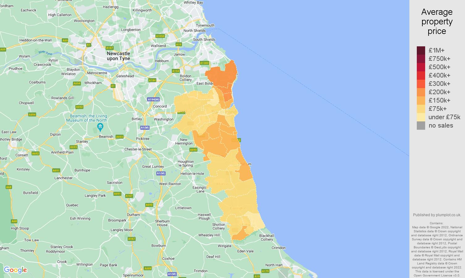 Sunderland house prices map