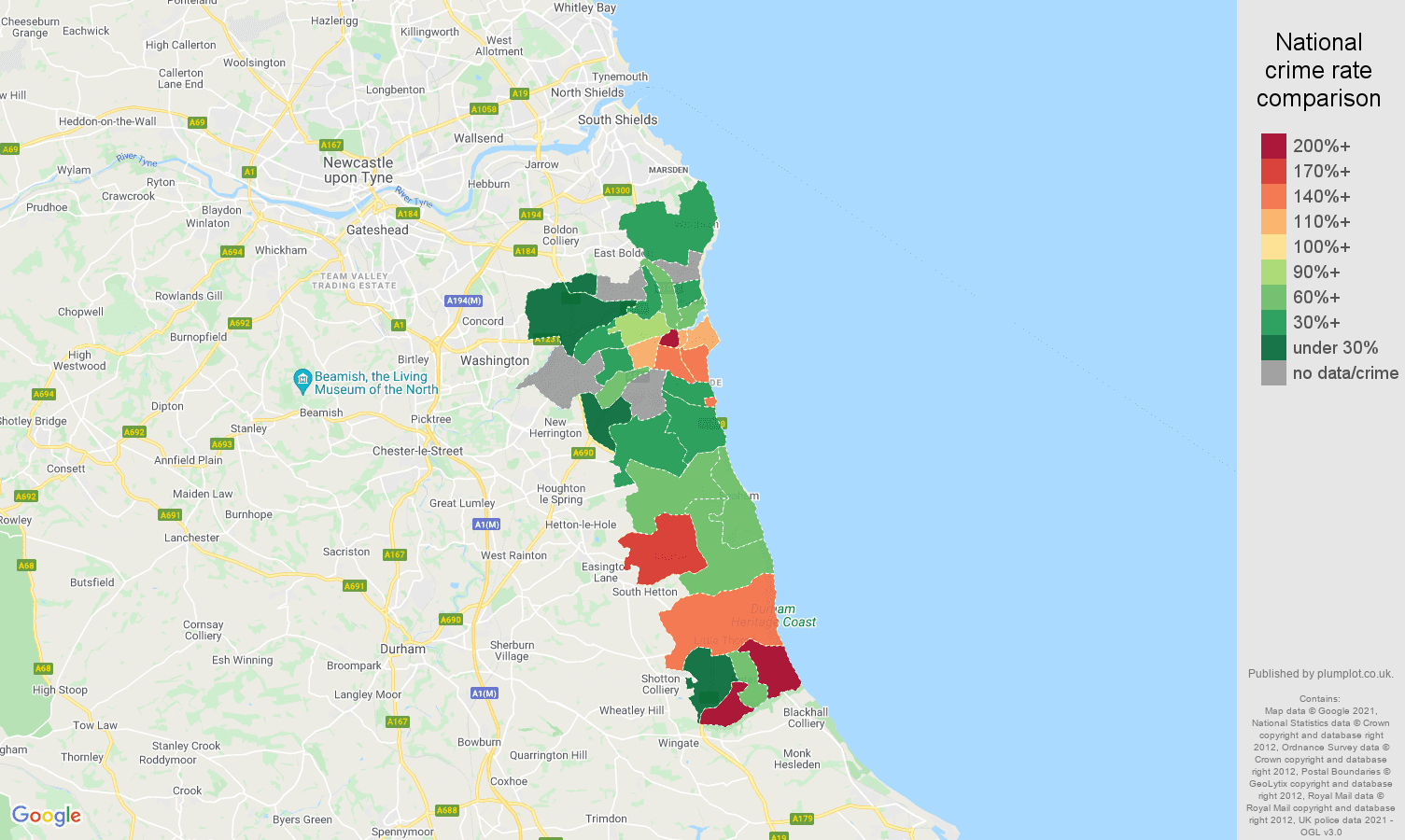 Sunderland theft from the person crime rate comparison map