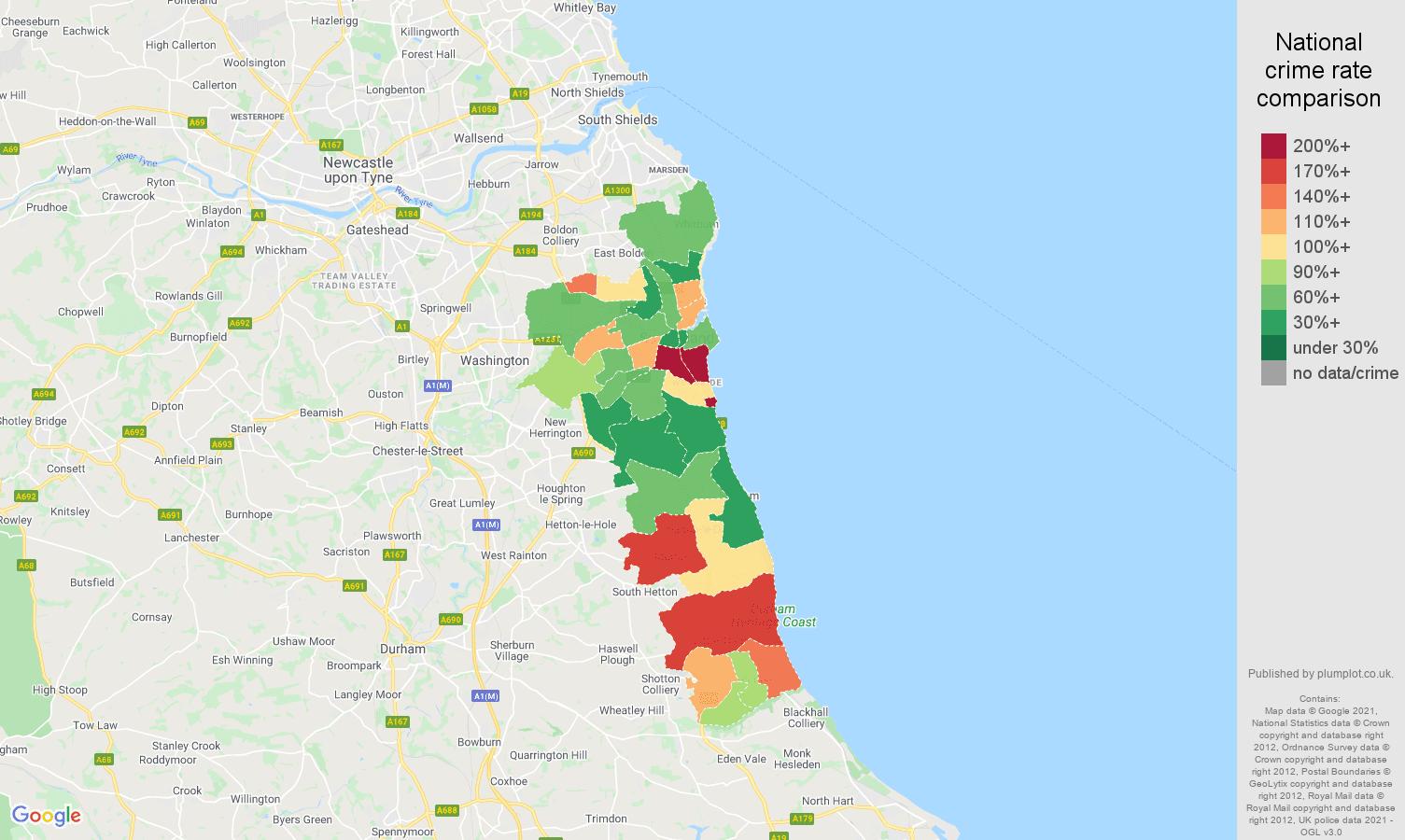 Sunderland vehicle crime rate comparison map
