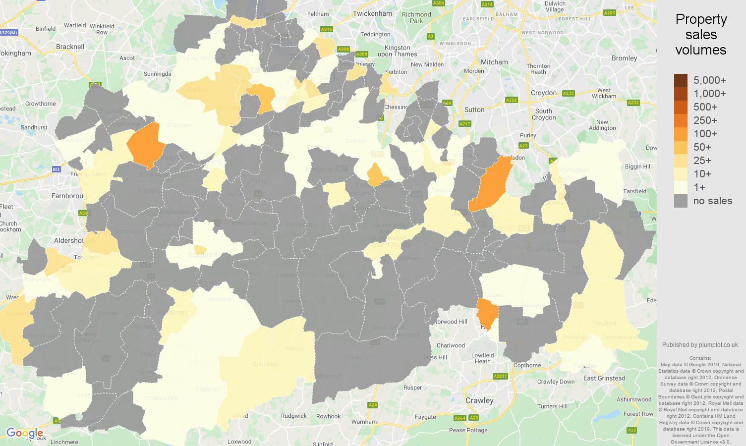Surrey map of sales of new properties