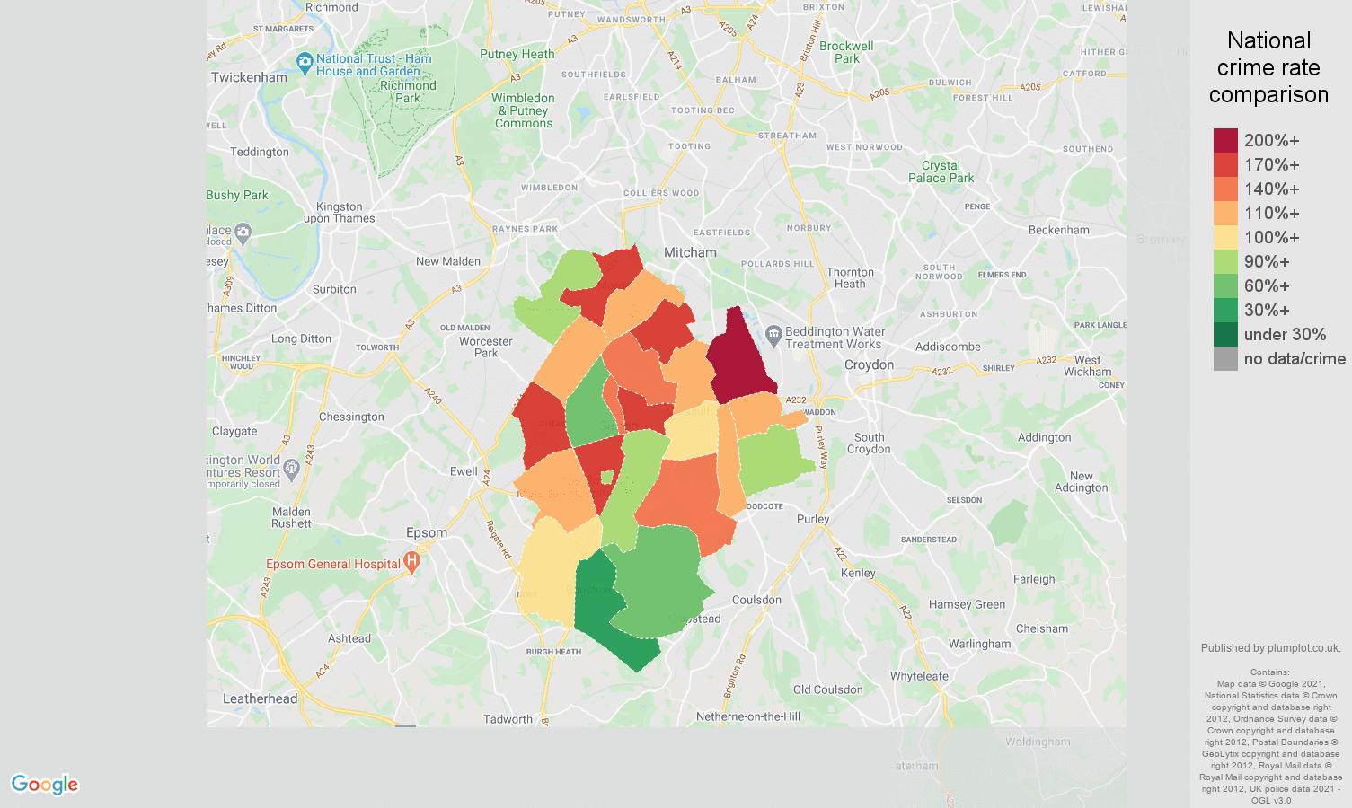 Sutton drugs crime rate comparison map