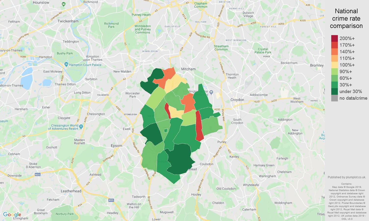 Sutton other theft crime rate comparison map