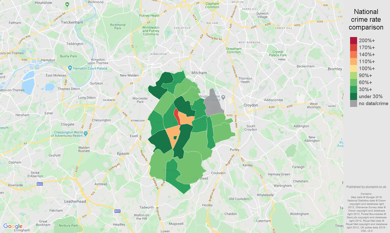 Sutton possession of weapons crime rate comparison map