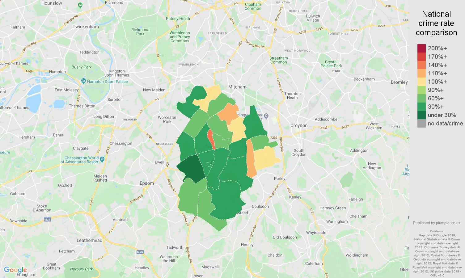 Sutton public order crime rate comparison map