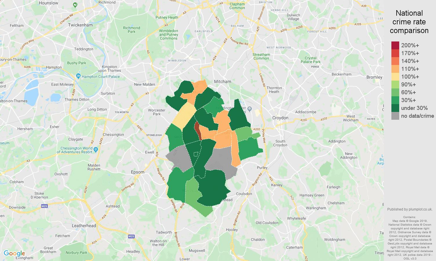 Sutton shoplifting crime rate comparison map