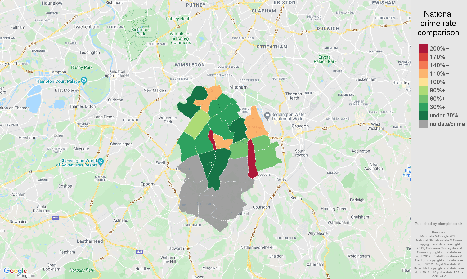 Sutton theft from the person crime rate comparison map