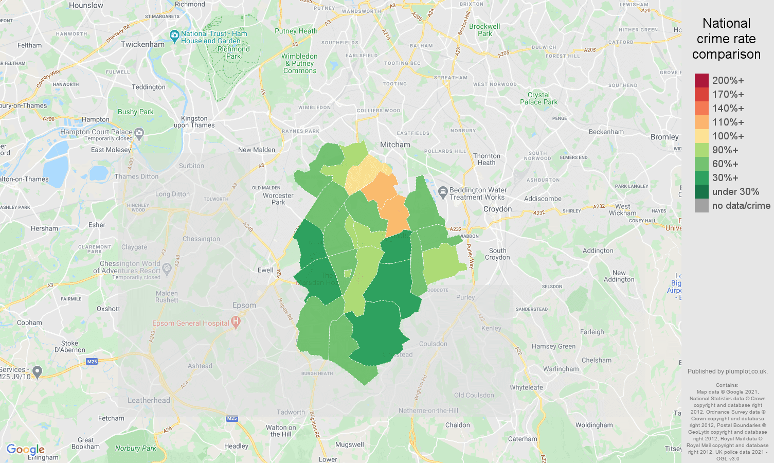 Sutton violent crime rate comparison map
