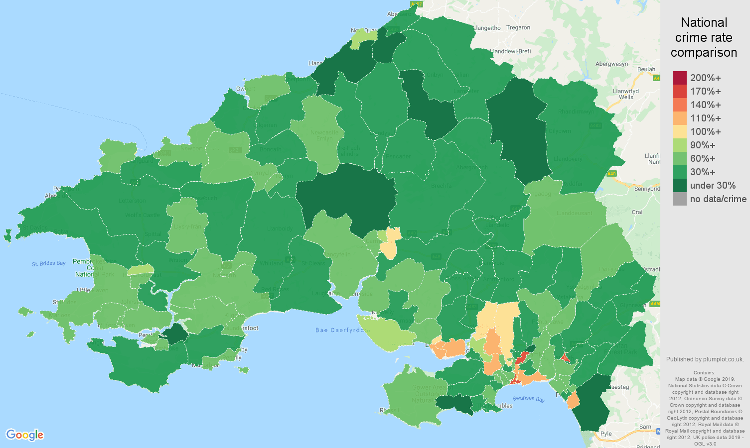 Swansea other theft crime rate comparison map