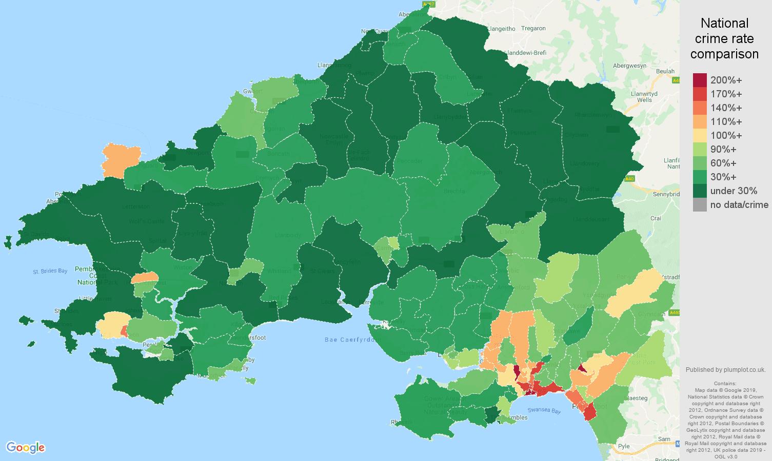 Swansea public order crime rate comparison map