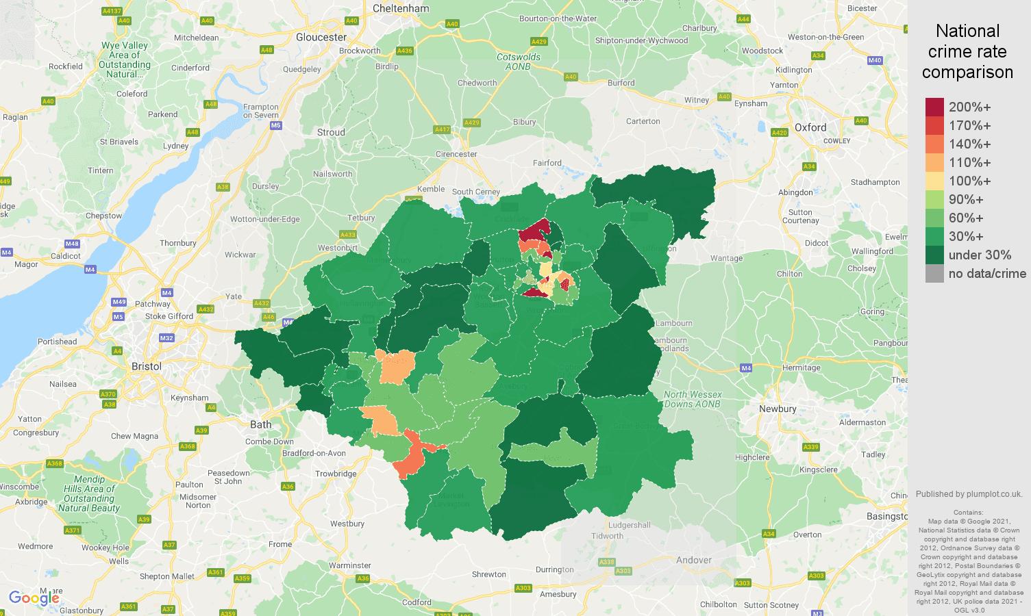 Swindon antisocial behaviour crime rate comparison map