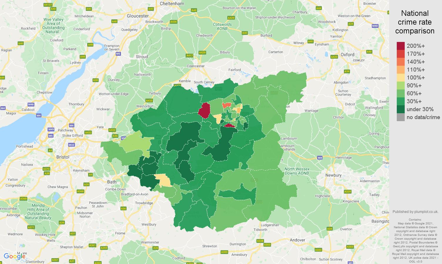 Swindon burglary crime rate comparison map