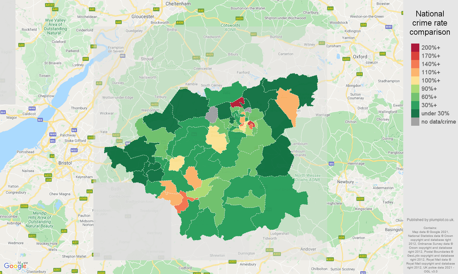 Swindon drugs crime rate comparison map