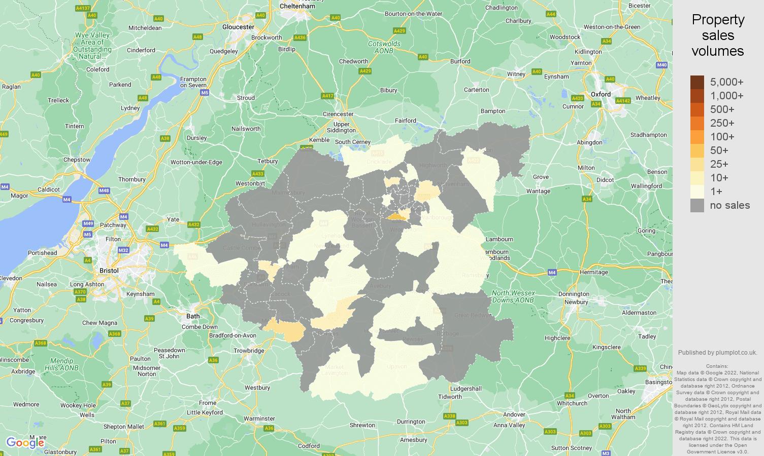 Swindon map of sales of new properties