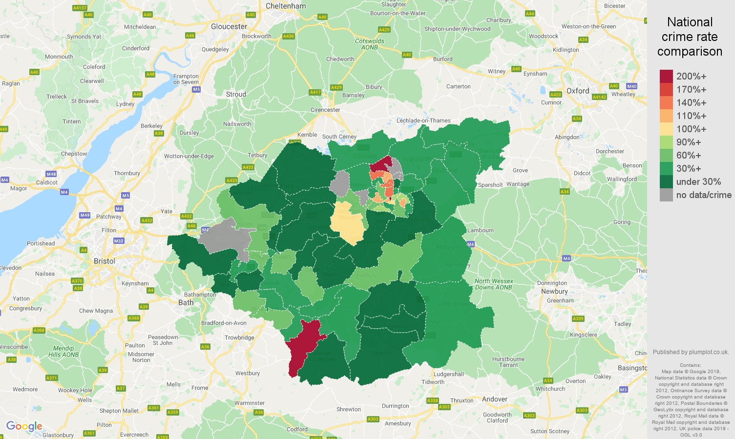 Swindon other crime rate comparison map