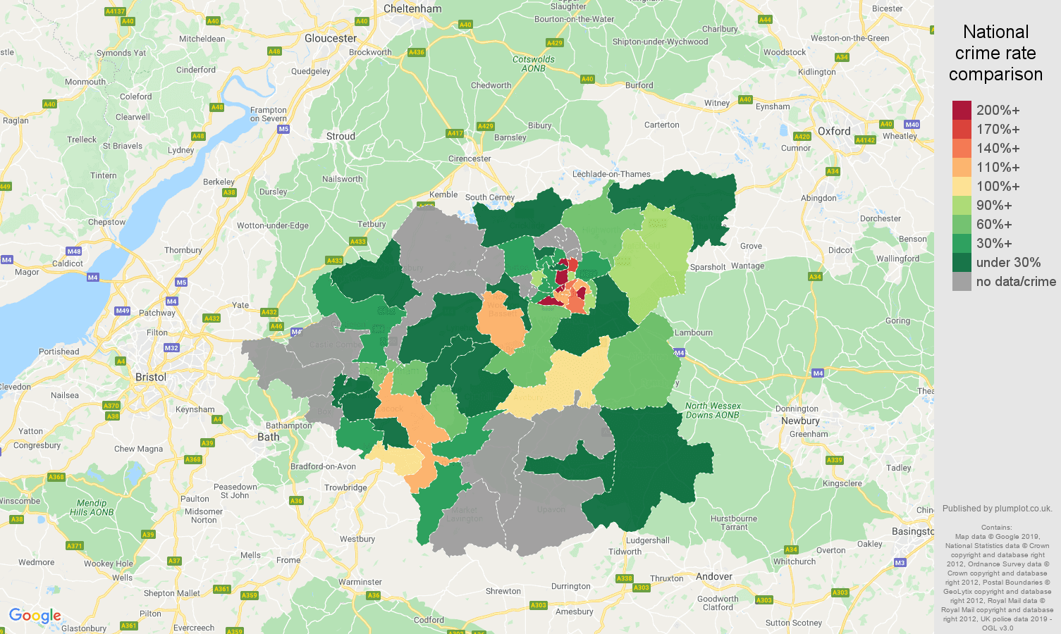 Swindon possession of weapons crime rate comparison map