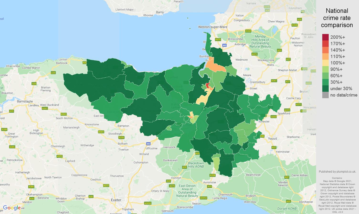 Taunton antisocial behaviour crime rate comparison map