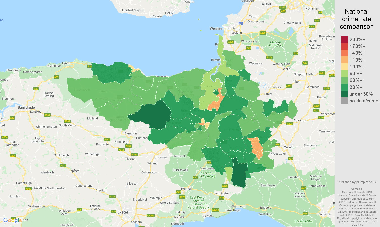 Taunton other theft crime rate comparison map