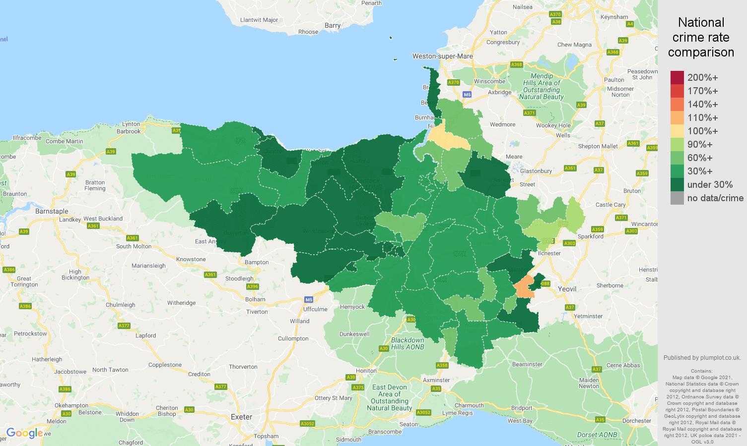 Taunton vehicle crime rate comparison map
