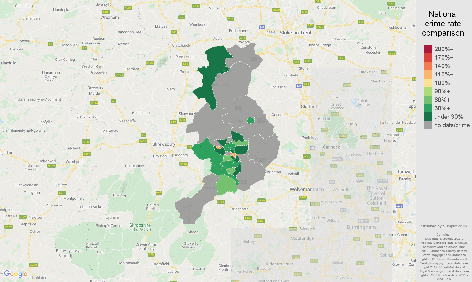 Telford bicycle theft crime rate comparison map