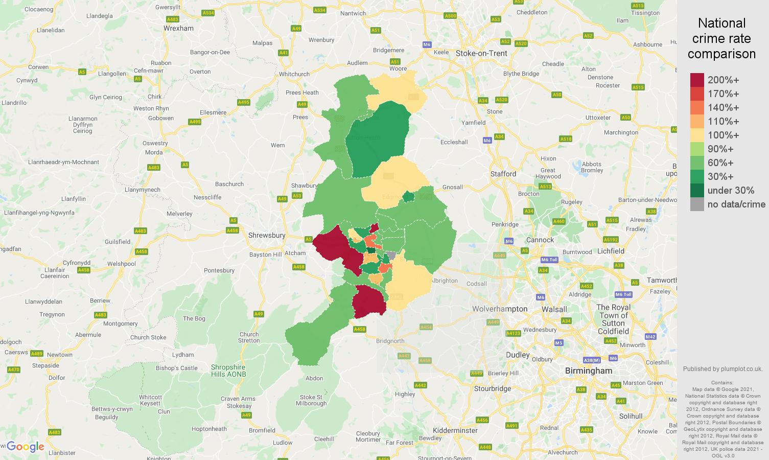 Telford burglary crime rate comparison map
