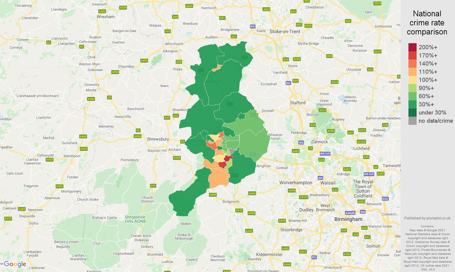 Telford criminal damage and arson crime rate comparison map