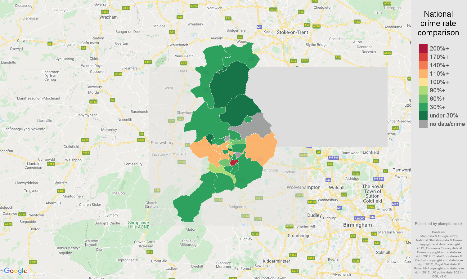 Telford drugs crime rate comparison map