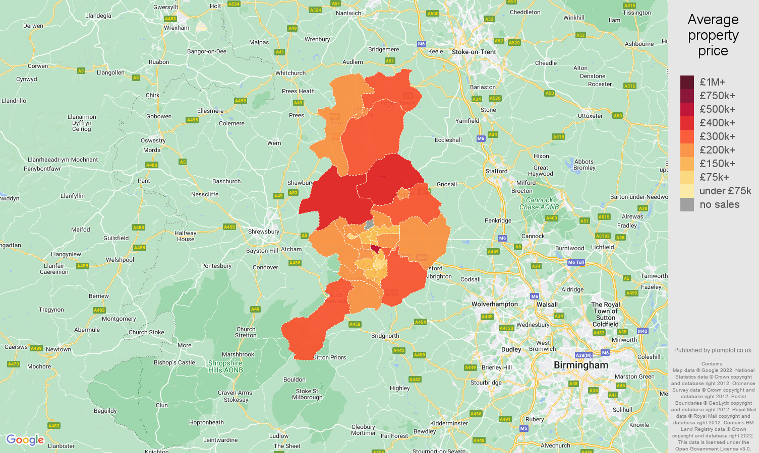 Telford house prices map