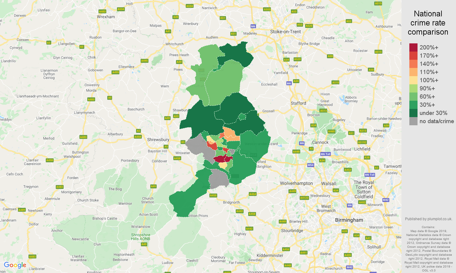 Telford other crime rate comparison map