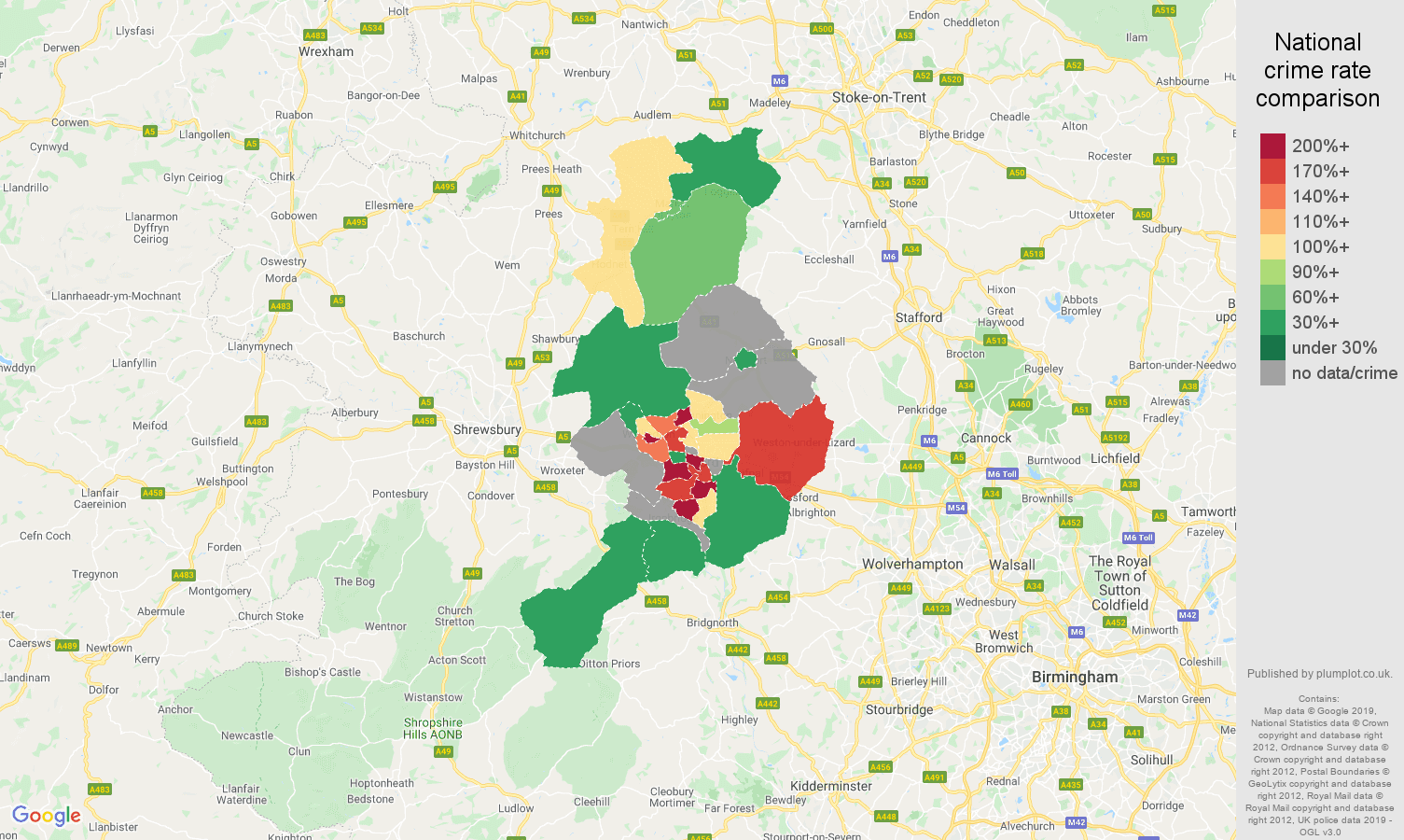 Telford possession of weapons crime rate comparison map
